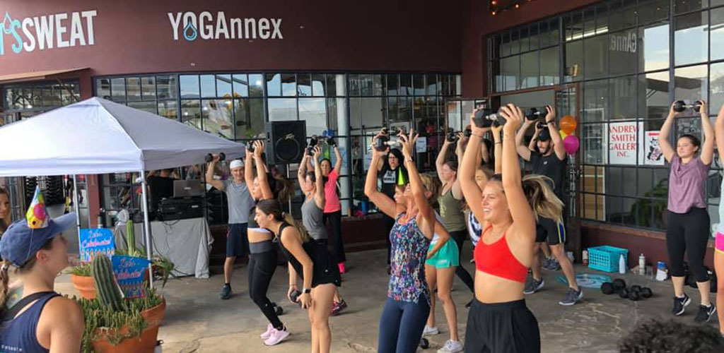 A workout class at Let's Sweat