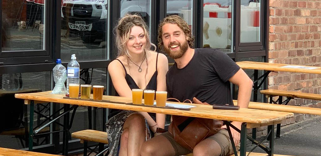A couple on a date at Love Lane Brewing