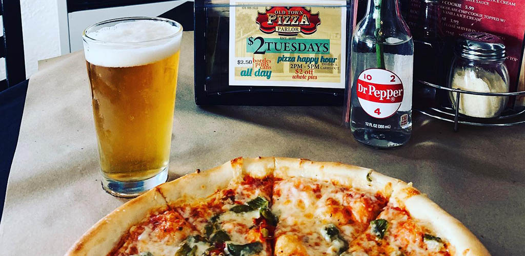 Pizza and a beer from Old Town Pizza Parlor