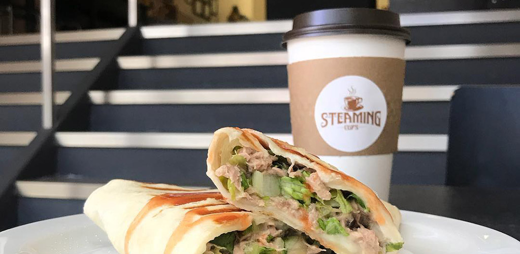 Coffee and a wrap from Steaming Cups Cafe