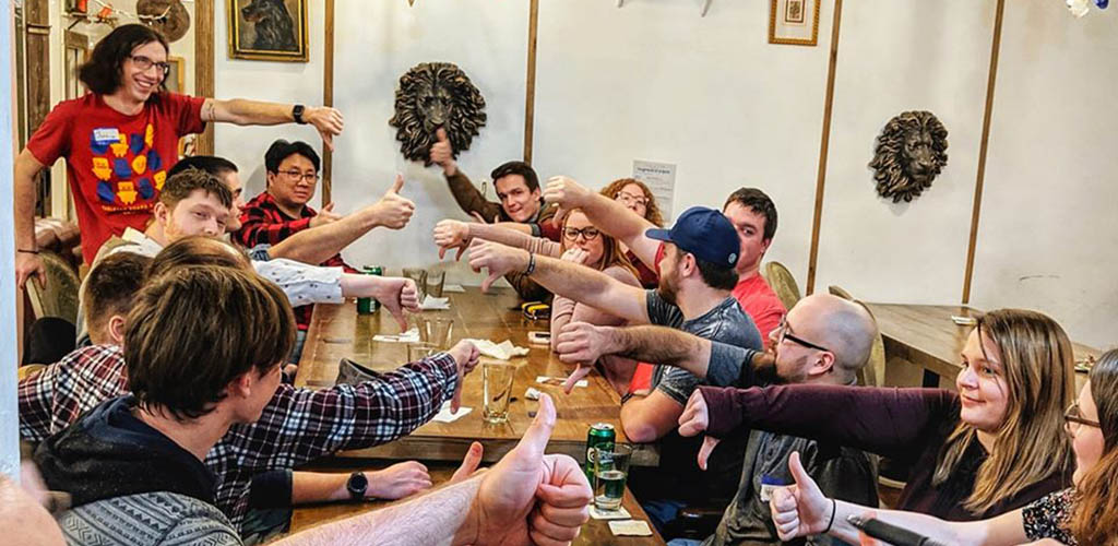 A Cleveland BBW playing boardgames at Tabletop Boardgame Cafe