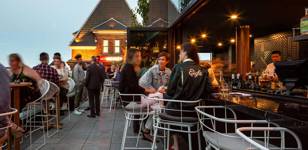The rooftop bar at the Broadview Hotel