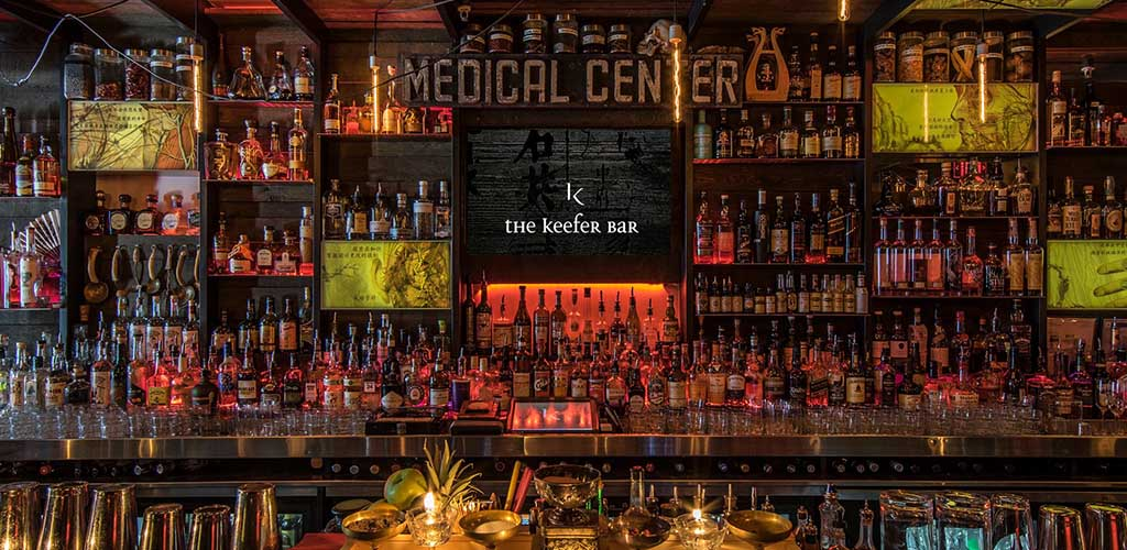 The liquor shelf at The Keefer Bar