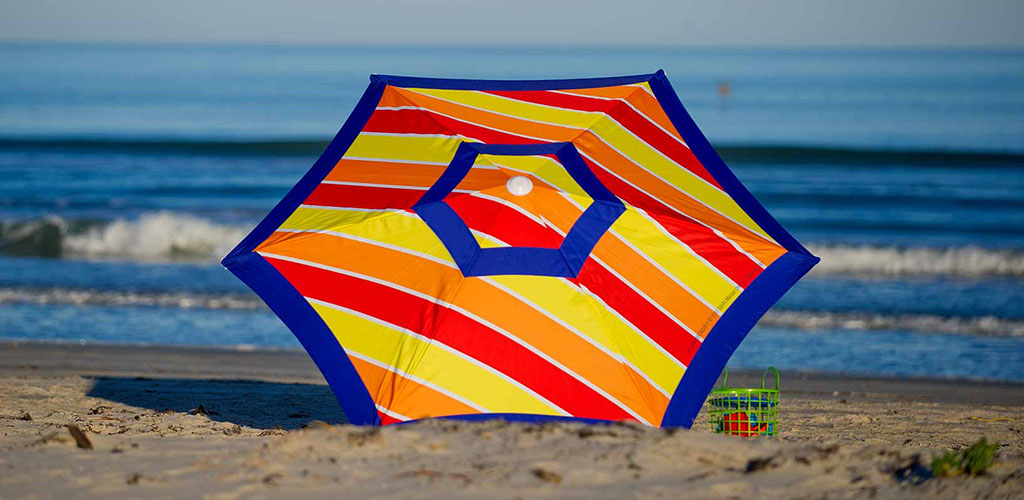A colorful umbrella at Mustang Island State Park