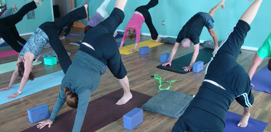 A yoga class at Oceanfront Yoga