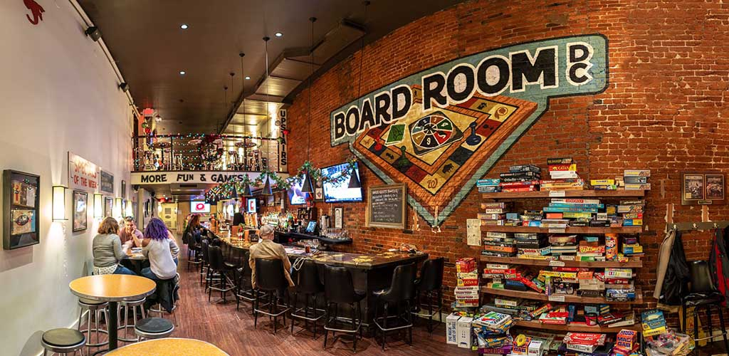 Inside BoardRoom where you can play board games with BBW in Washington DC