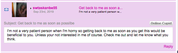 Cheating Hookup Spam message