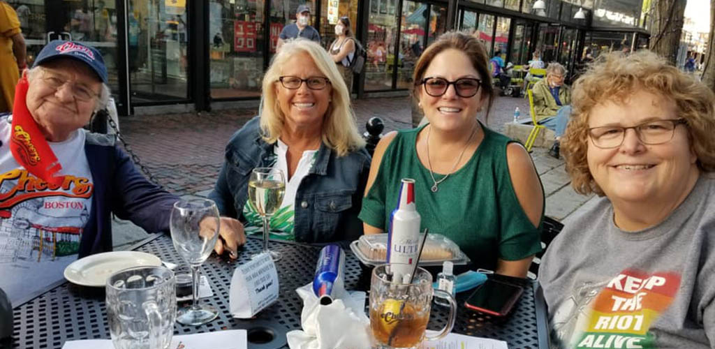 Curvy ladies having lunch at Faneuil Hall Marketplace