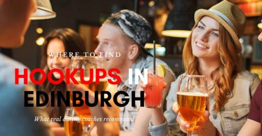 Friends searching for Edinburgh hookups at a bar