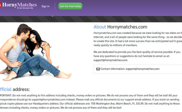 HornyMatches landing page