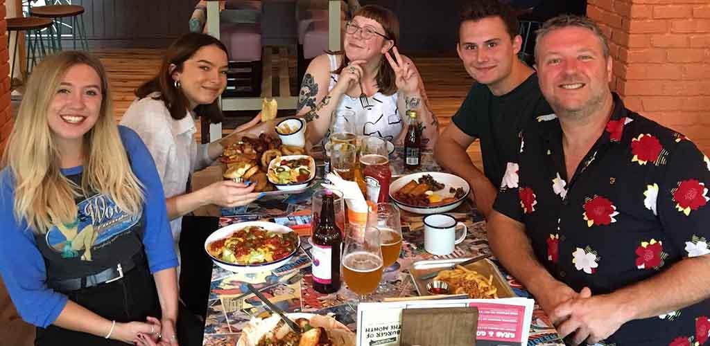 Friends having dinner at Nine