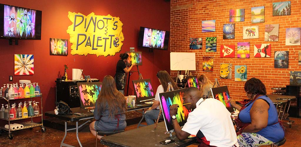 BBW in Wichita painting at Pinot's Palette