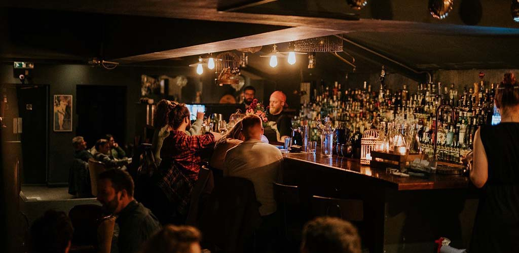The bar area of The Dead Canary