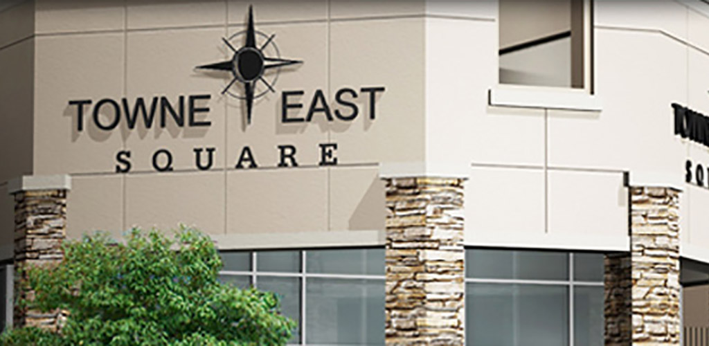 The sign at Towne East Square