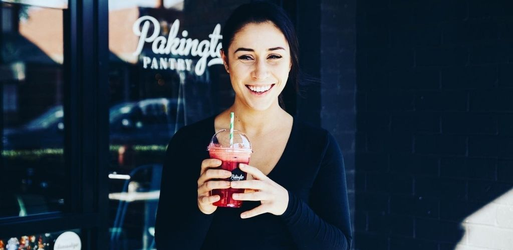 A cute Geelong girl with a smoothie at Pakington Pantry