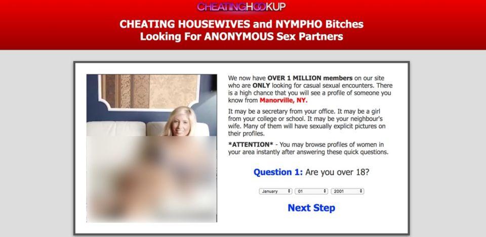 Cheating Hookup website homepage