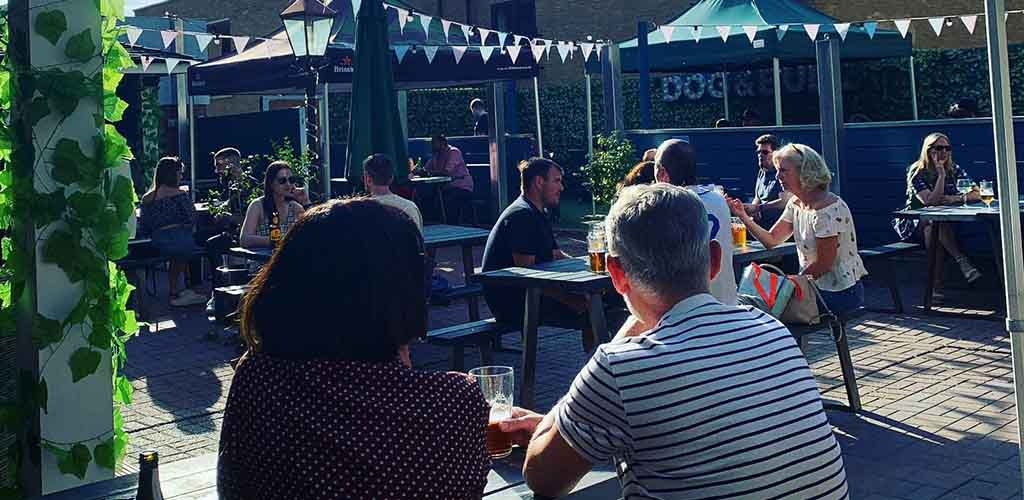 The outdoor area of Dog and Bull
