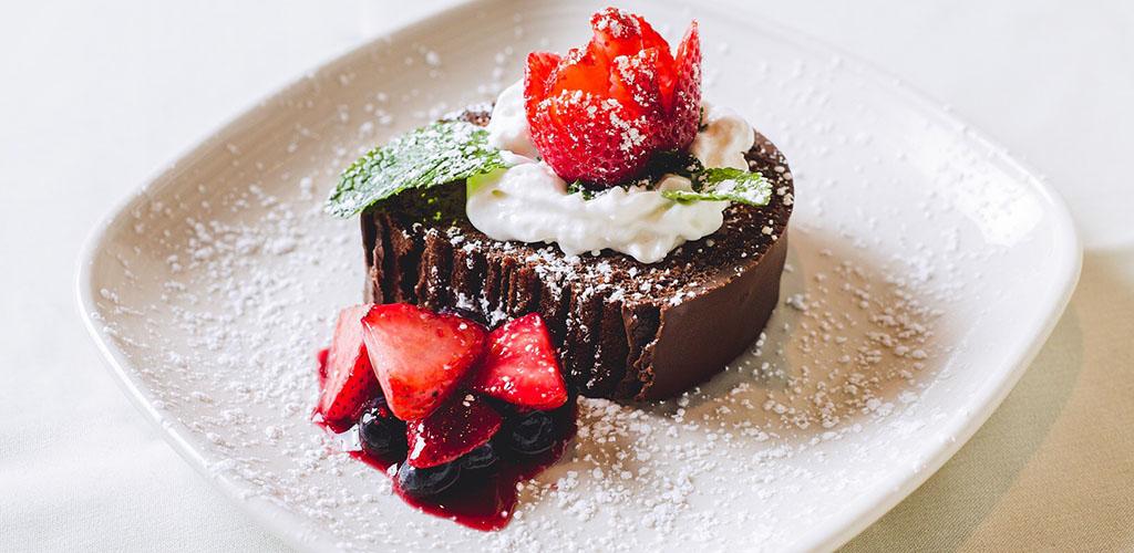 A chocolate strawberry tart from Mercury Chophouse