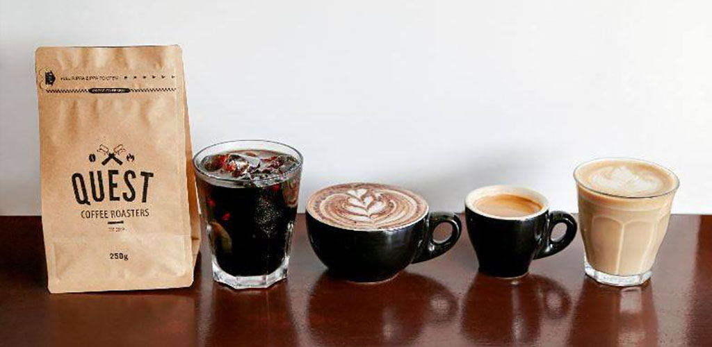A variety of coffee drinks from Quest Coffee Roasters