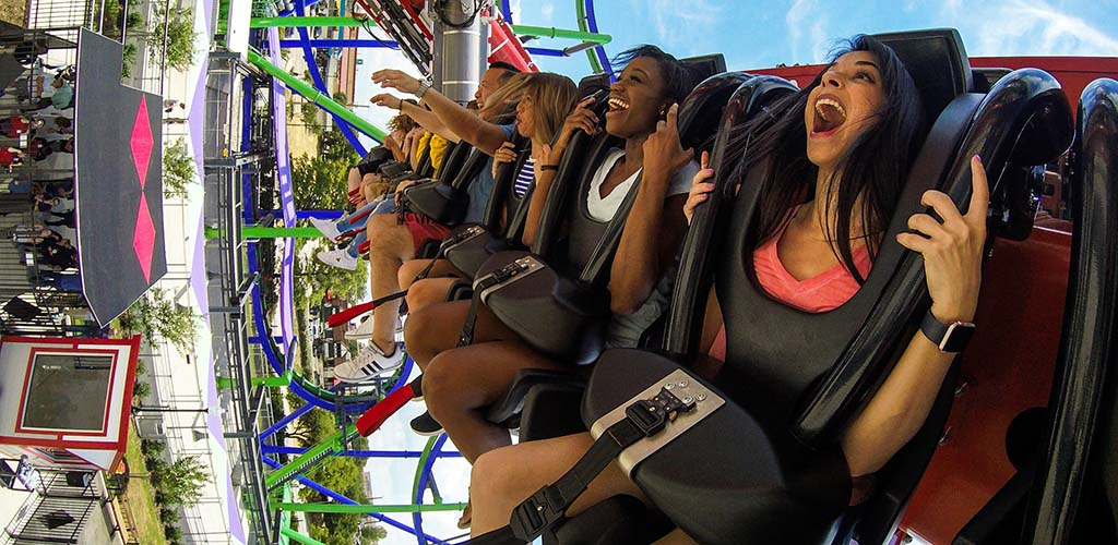 On a thrill ride at Six Flags over Texas