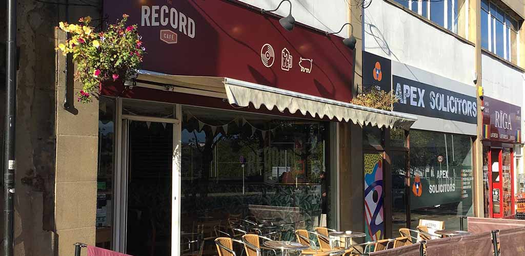The patio of The Record Cafe