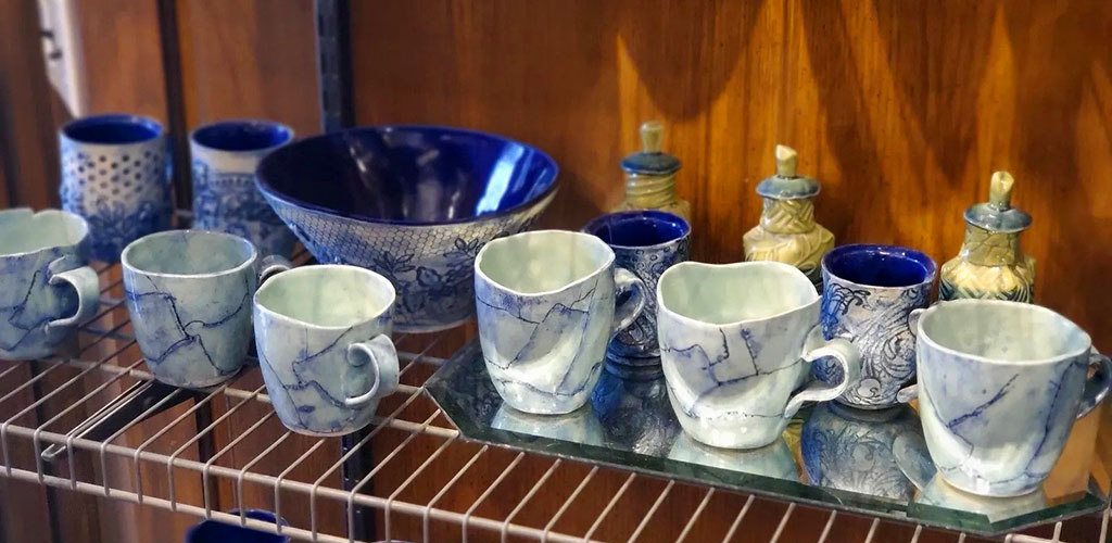 Finished pottery products at Wichita Pottery