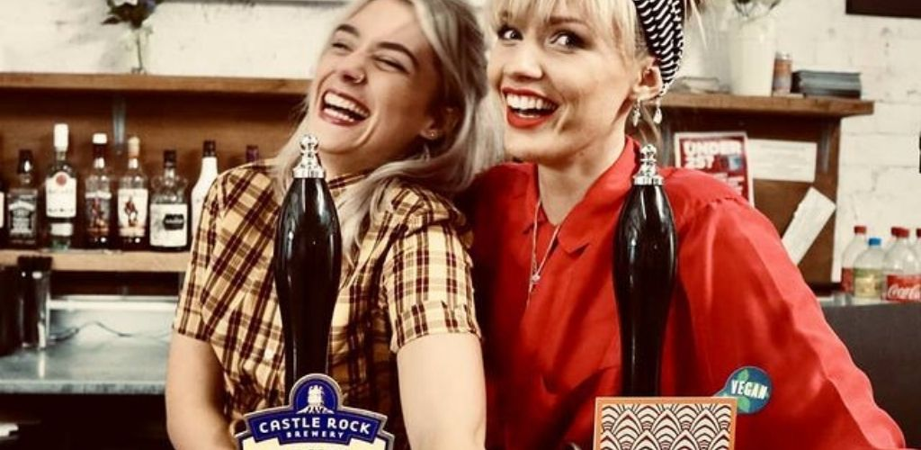 2 cute bartenders behind the bar at Canalhouse in Nottingham