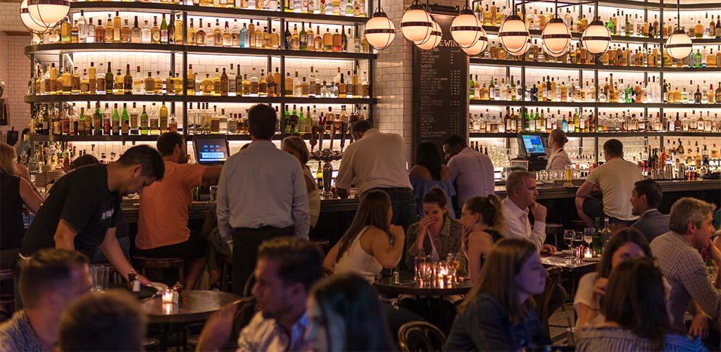 Busy hotel bar
