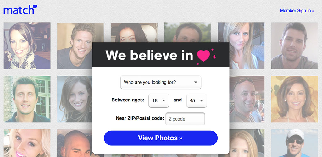 Homepage for dating site Match.com