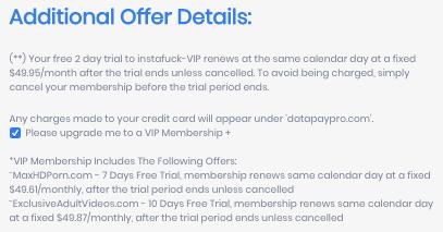Instafuck membership upgrade info