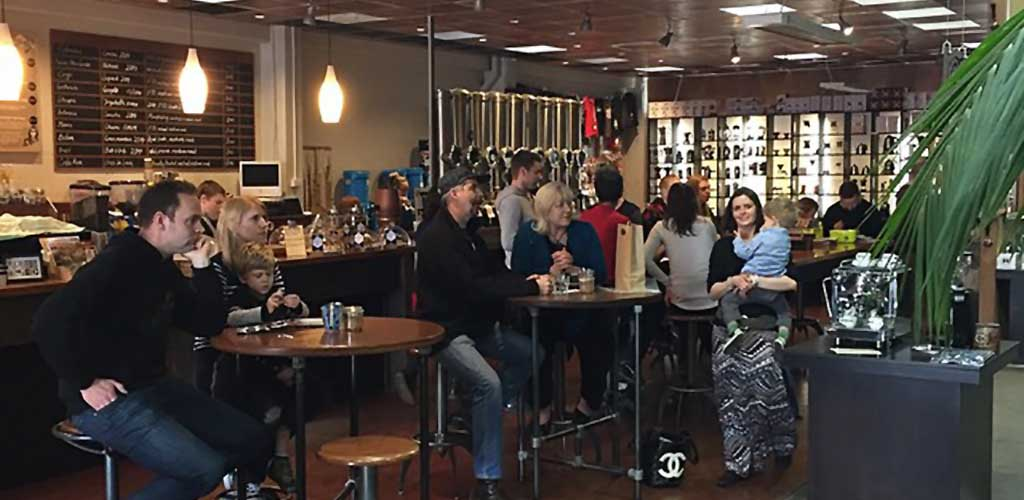 The afternoon crowd at C4 Coffee