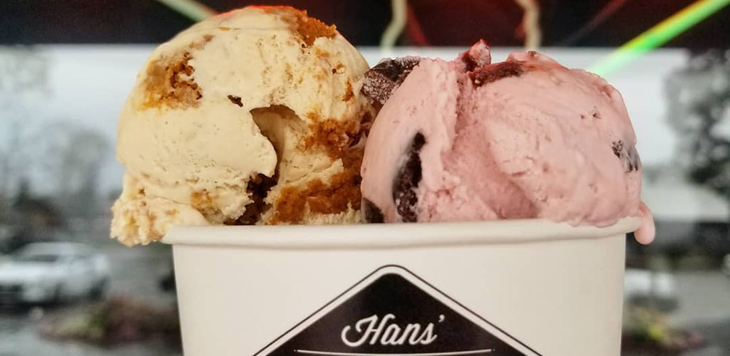 Two scoops of ice cream from Hans' Homemade Ice Cream