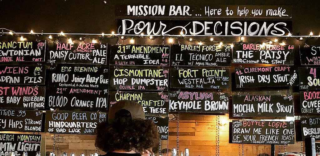 The bar menu at Mission Bar