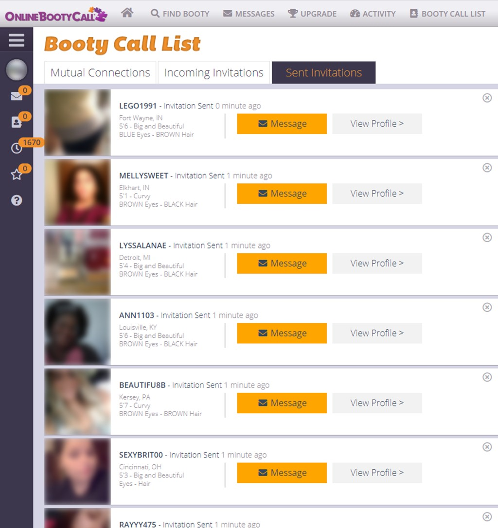 Online Booty Call Invitations Sent