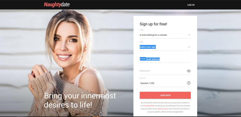 NaughtyDate Landing Page