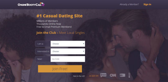 OnlineBootyCall Landing Page