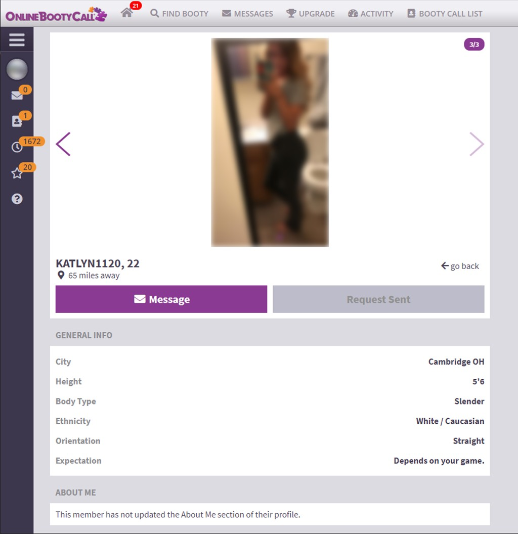 OnlineBootyCall Profile Screenshot