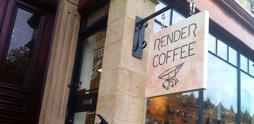 Render Coffee sign outside