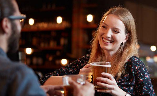 Blonde single woman seeking men in Bristol having a beer