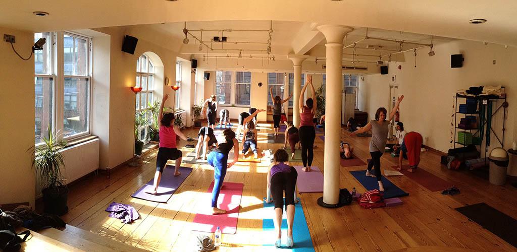 A yoga class at Merchant City Yoga