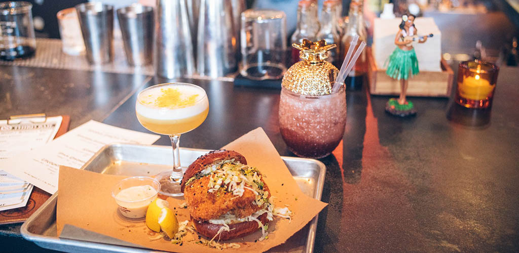 A burger and cocktails from Third Rail