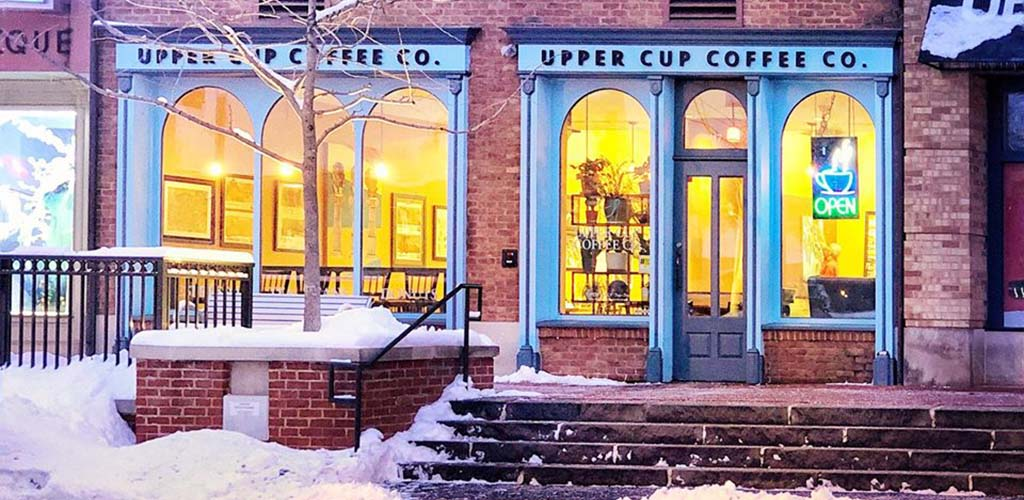 An exterior shot of Upper Cup Coffee