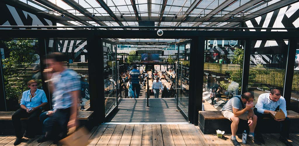 The fast-paced crowd at BoxPark