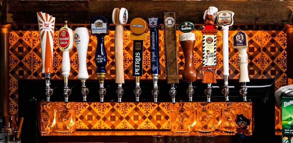 The beer taps at Rasselbock Kitchen & Beer Garden