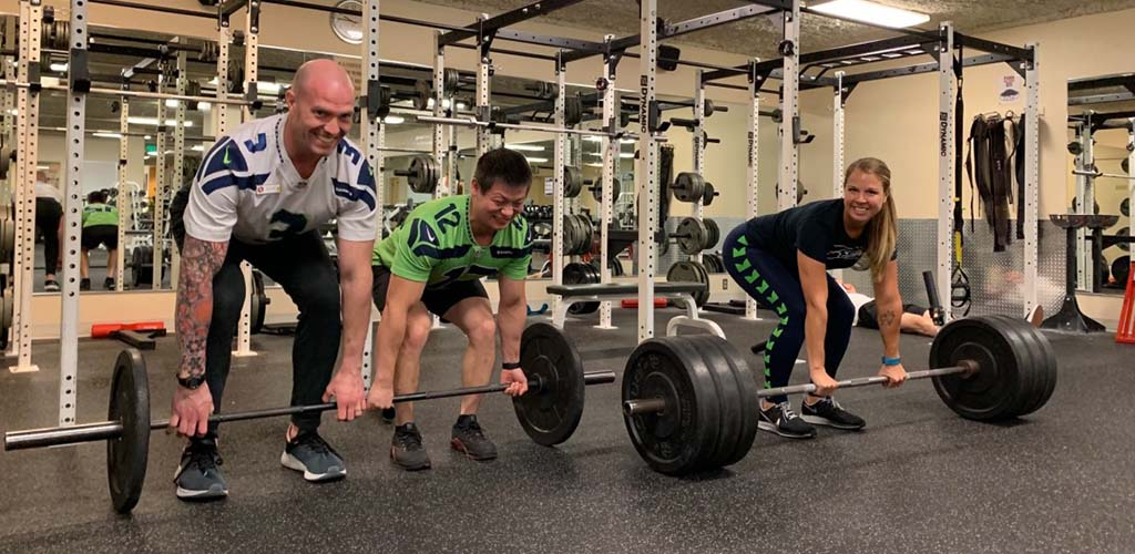 Lifting weights at Seattle Athletic Club