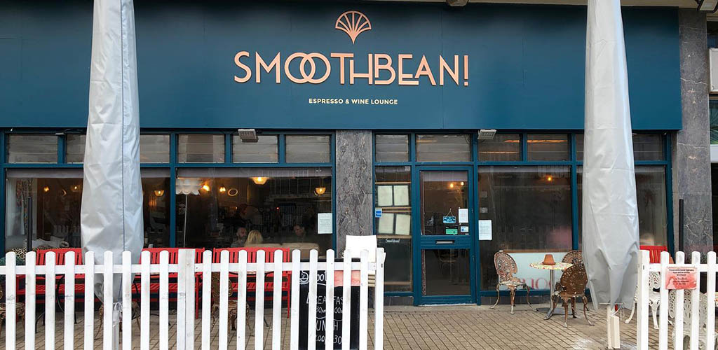 The Art Deco-inspired exterior of Smoothbean!