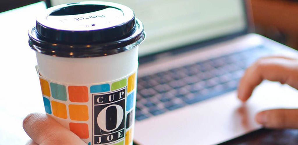 A cup of coffee from Cup O Joe Coffee House
