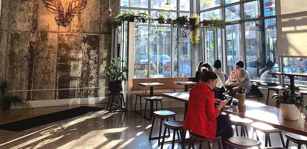 The spacious dining area of Kickapoo Coffee Roasters