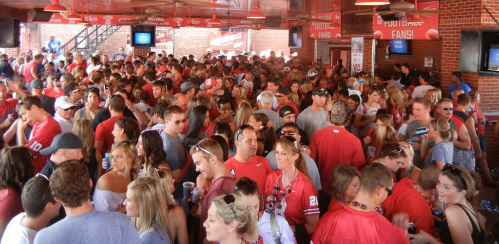 A huge crowd of young sports fans at Varsity Club Restaurant & Bar