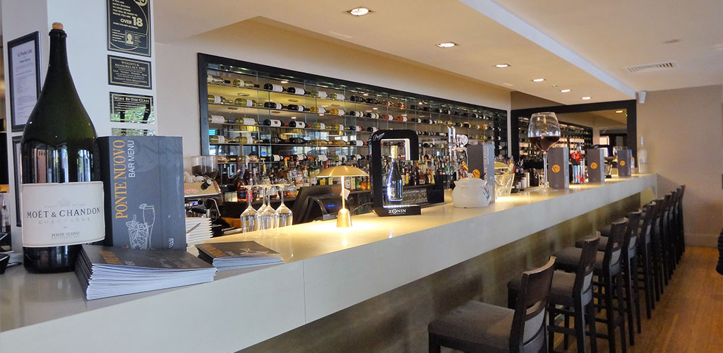 The clean and crisp bar at Ponte Nuovo
